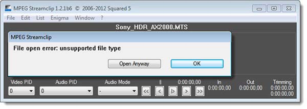 MTS unsupported by MPEG Streamclip